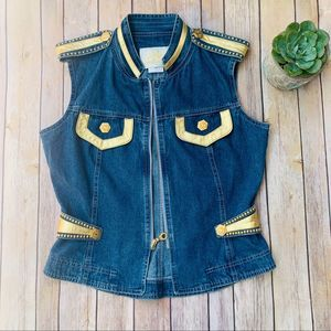 Gold Detailed 80's Denim Vest